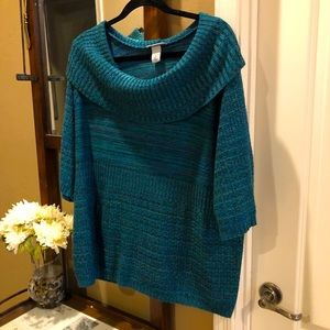 Catherine's Cowl Neck Sweater Plus 1X Knit Green